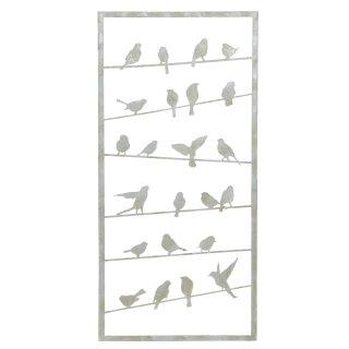 dekoratives ausgefallenes Wandbild Motiv Vögel Metall grauweiß shabby
