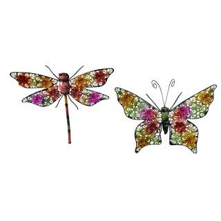 dekorative lustig bunte Wanddeko aus Metall Schmetterling oder Libelle jeweils in 2 möglichen Größen