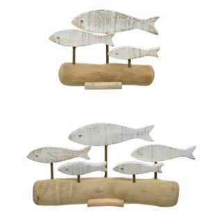 dekoratives maritimes Dekoobjekt zum stellen aus gewaschenem Treibholz Motiv Fische