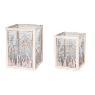 dekoratives ausgefallenes Windlicht mit Blumensilhouetten inklusive Glaseinsatz