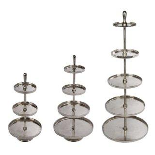 dekorative Deko-Etagere Metall-Etagere Küchen-Etagere 3-, 4- oder 5-stufig silberfarbig im modernen Landhaus Stil