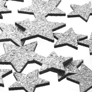 dekorative weihnachtliche Streudeko Tischdeko Basteldeko Sterne mit silber Glitzer 18-er Set