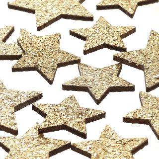 dekorative weihnachtliche Streudeko Tischdeko Basteldeko Sterne mit goldenem Glitzer 18-er Set