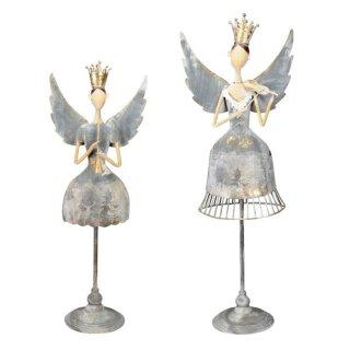 nostalgischer dekorativer ausgefallener Deko Engel mit Flöte oder Geige shabby grau-gold antike Optik