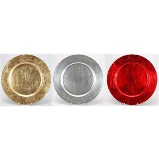 dekorativer Teller Dekoteller Platzteller rund metallic glänzend groß ca. 33 cm Preis für 2 Stück