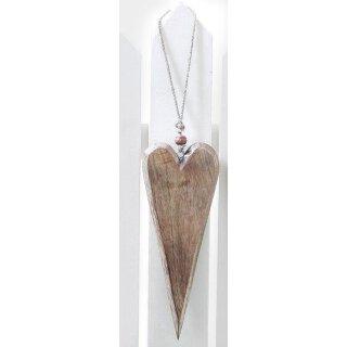 dekorativer großer Anhänger Herz Holzherz naturholz am Sisalband mit Holzperle
