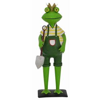 lustiger Deko-Frosch Garten-Frosch Gärtnerfrosch mit Krone und Spaten Metall bemalt
