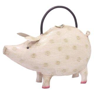dekorative lustige Gießkanne als hellrosa Schwein Metall handbemalt