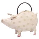 dekorative lustige Gießkanne als hellrosa Schwein...