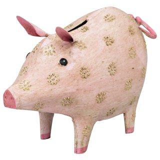dekorative witzige Spardose Sparbüchse rosa Schweinchen mit Blütenmuster Metall bemalt