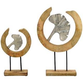 dekoratives Deko-Objekt Gingkoblatt Aluminium mit Mangoholz in 2 möglichen Größen
