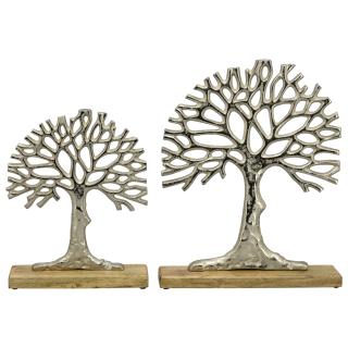 dekoratives Deko-Objekt Baum Puri aus rauem Aluminium auf Holzfuß