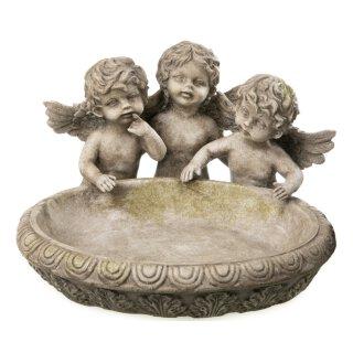 dekorative ausgefallene ovale Vogeltränke mit 3 Engelchen aus wetterfestem Polystone