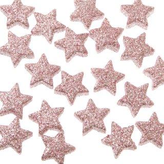 dekorative weihnachtliche Streudeko Tischdeko Basteldeko kleine Sterne mit rosa Glitzer