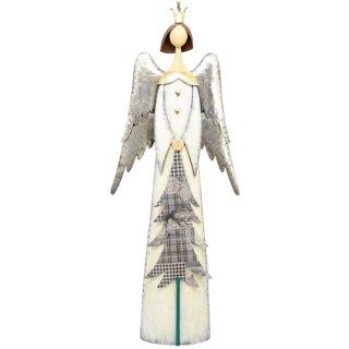 großer dekorativer stimmungsvoller Deko-Engel Metall-Engel mit Tannenbaum creme-silber-grau