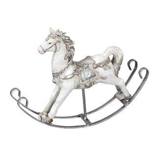 dekoratives Schaukelpferd Deko-Pferd weiß mit etwas silber in shabby Vintage Optik