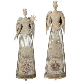 großer nostalgischer dekorativer ausgefallener Deko Engel als Windlicht mit Herz oder Sternstab shabby grau antike Optik