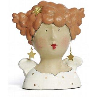 Ladykopf Deko-Kopf mit Stern-Ohrringen