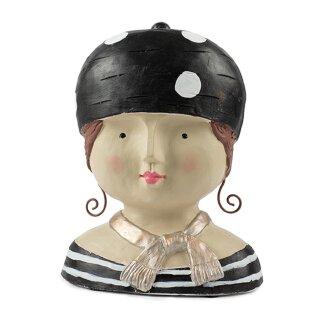 Ladykopf Deko-Kopf mit Ringelshirt und gepunkteter Mütze