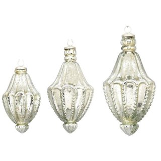 nostalgischer Glasanhänger Zapfen Bauernsilber antik silber glänzend in verschiedenen Größen