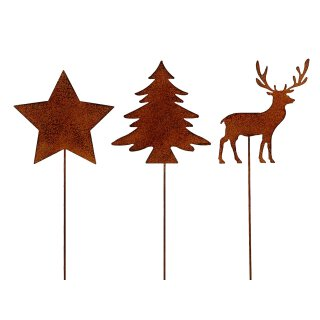 weihnachtlicher Deko-Stecker Garten-Stecker 3 Motive Stern-Hirsch-Tanne sortiert Preis für 3-er Set rostoptik