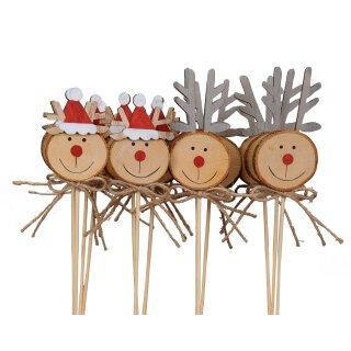 weihnachtlicher kleiner Dekostecker Pick Elch Hirsch Weihnachtshirsch Rentier mit roter Nase