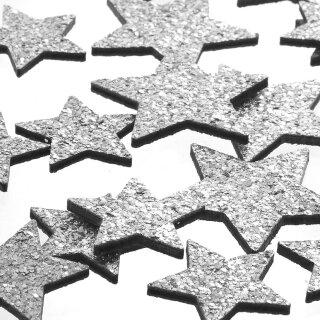 dekorative weihnachtliche Streudeko Tischdeko Basteldeko Sterne mit silber Glitzer 24-er Set