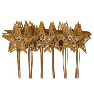 weihnachtlicher stimmungsvoller Pick Ministecker Stern am Stab Dekostern Metall rostig mit Goldglitzer