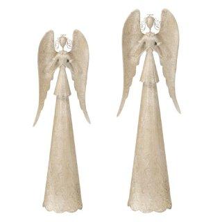 nostalgischer dekorativer Deko Engel mit großen Flügeln cremefarbig antike shabby Optik
