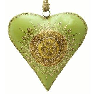 dekorativer Anhänger großes Herz grün-beige antik patiniert