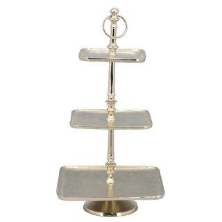 dekorative quadratische Deko-Etagere Tisch-Etagere Küchen-Etagere 3-stufig Metall vintage Landhaus Stil