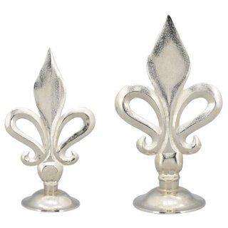 dekoratives ausgefallenes Dekoobjekt stilisierte Lilie Aluminium silberfarbig rau poliert