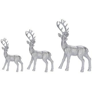 trendiger dekorativer Glitzer - Hirsch Weihnachtshirsch in silber