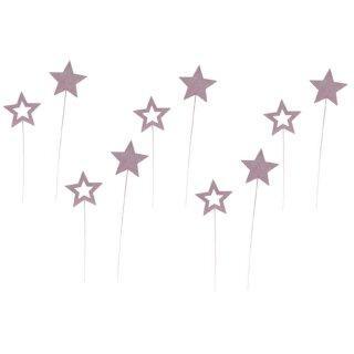 weihnachtlicher kleiner Dekostecker Pick Stern am Stab Dekostern Holz in rosa
