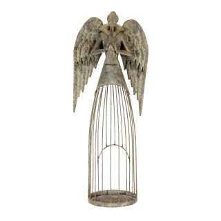 nostalgischer stimmungsvoller Deko Engel als Windlichtengel mit Flöte grau antik shabby Optik