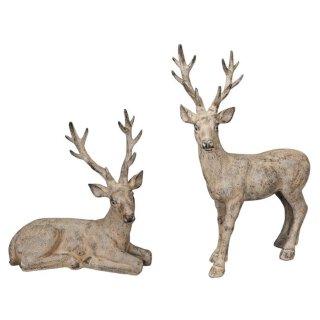 stimmungsvoller dekorativer wetterfester Hirsch als Weihnachtshirsch in beigebraun