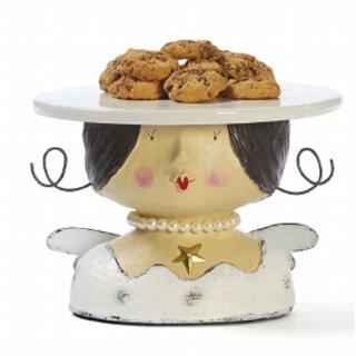 Ladykopf Deko-Kopf Engel als Kuchenplatte mit Perlenkette