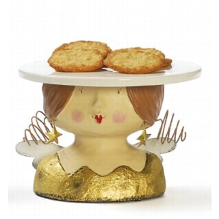 Ladykopf Deko-Kopf Engel als Kuchenplatte mit Sternohrringen