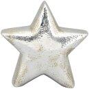 dekorativer stimmungsvoller Deko-Stern Keramikstern dreidimensional bauchig silber antik gehämmerte Optik