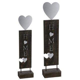 dekorative Holzstehle HOME Ständer aus Holz mit Metallherzen in vintage shabby Optik