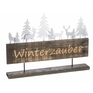 dekoratives winterliches Dekoobjekt mit gebranntem Schriftzug WINTERZAUBER in vintage shabby Optik