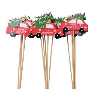 weihnachtlicher kleiner Dekostecker Pick rotes Weihnachtsauto mit Tannenbaum und Schriftzug FROHE WEIHNACHTEN