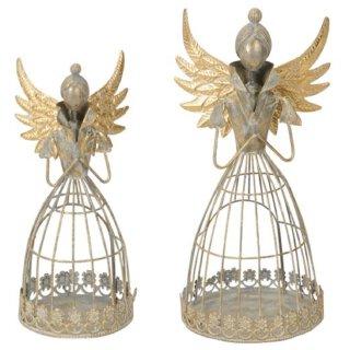 nostalgischer dekorativer ausgefallener Deko Engel mit Dutt als Windlicht shabby grau mit champagner-gold antike Optik
