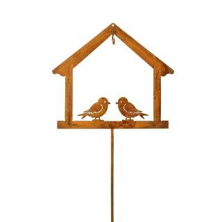 Meisenknödelhalter als Silhouette vom Haus mit 2 Vögelchen Metall edelrostig