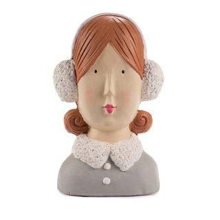 Ladykopf Deko-Kopf mit 2 Dutts und Ohrwärmern