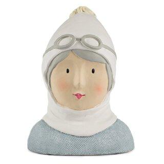 Ladykopf Deko-Kopf mit Mütze und Skibrille