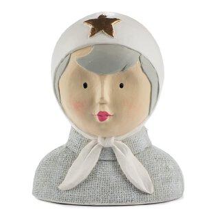 Ladykopf Deko-Kopf mit Kopftuch und goldenem Stern