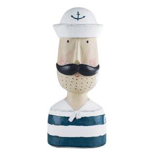 Herrenkopf Deko-Kopf Matrose im geringelten Shirt mit weißer Kappe