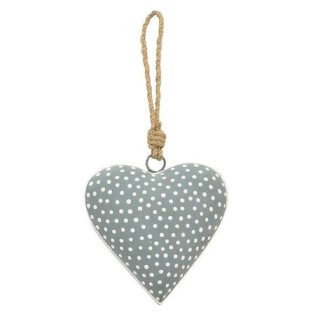 dekorativer bauchiger Anhänger Herz Metallherz hellgrau mit weißen Punkten Landhausoptik