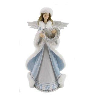 dekorative zauberhafte Dekofigur Engel im hellblauen Gewand mit weißem Plüsch und Herz aus Blumen